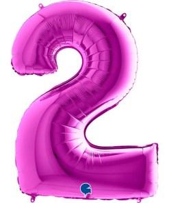 Zahl 2 Lila Folienballon H102cm