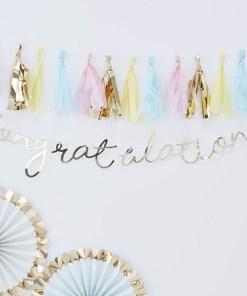 "Buchstaben-Girlande Congratulations"", Pappe roségold foliert, Kordel weiß, H 15 x L 150 cm"