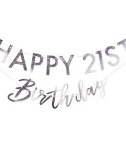 Buchstaben-Girlande HAPPY Birthday + 2x Ziffern 0-9NDRDTH, Pappe iris-silber, personalisierbar, 2 x 175 cm