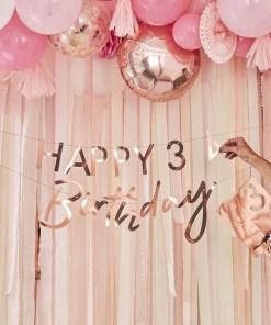 Buchstaben-Girlande HAPPY Birthday + 2x Ziffern 0-9NDRDTH, Pappe roségold, personalisierbar, 2 x 150 cm, Größenbeispiel