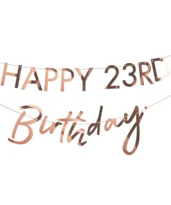 Buchstaben-Girlande HAPPY Birthday + 2x Ziffern 0-9NDRDTH, Pappe roségold, personalisierbar, 2 x 150 cm