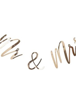 Buchstaben-Girlande Mr & Mrs, Pappe roségold foliert, Faden weiß, H 22 x L 200 cm