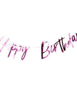 Buchstaben-Girlande,Happy Birthday, Pappe pink foliert, Faden weiß, H 20 x L 200 cm