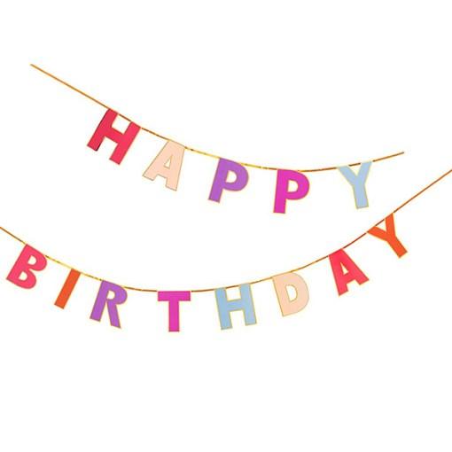 "Buchstaben-Girlande ""HAPPY BIRTHDAY"", pink/rosa/lila mit Goldrand"