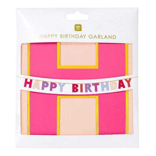 "Buchstaben-Girlande ""HAPPY BIRTHDAY"", pink/rosa/lila mit Goldrand, Packung"