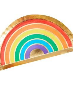 Form-Pappteller Over the Rainbow, Regenbogen Golddruck, 8er Pack, 28 x 15,5 cm
