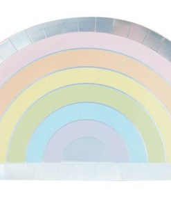 Form-Pappteller Pastel Rainbow, Pastell-RegenbogenIris-Silberdruck, 8er Pack, 28 x 15,5 cm