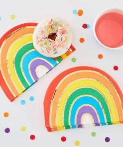 Form-Servietten Over the Rainbow, Regenbogen Golddruck, 16er Pack, 16,5 x 11 cm Dekobeispiel