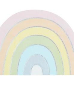 Form-Servietten Pastel Rainbow, Pastell-RegenbogenIris-Silberdruck, 16er Pack, 16,5 x 11 cm