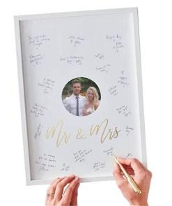 Fotorahmen Gästebuch, weißGolddruck Mr & Mrs, zum Unterschreiben, 22 x 44 x 2 cm