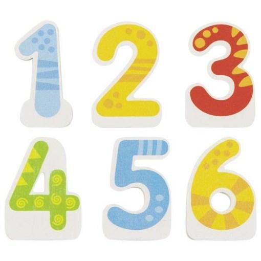 Geburtstags-Zug mit 4 Anhaengern, HolzMagnetverbindungen, austauschbare Zahlen 1 - 6, L 35 cm, Zahlen