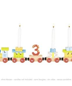Geburtstags-Zug mit 4 Anhaengern, HolzMagnetverbindungen, austauschbare Zahlen 1 - 6, L 35 cm