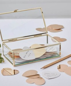 Glasbox Gästebuch, Messingkanten, Pappherzen gold foliert zum Beschriften,10 x 19 x H 6 cm