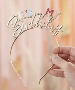 Haarreif ''IT'S MY Birthday'', Metall gold-Pastelltoene, 14.8cm x 18cm, Dekobeispiel