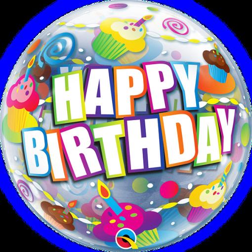 Happy Birthday, Bubble, bunte Cupcakes, Folienballon, rund, 56cm