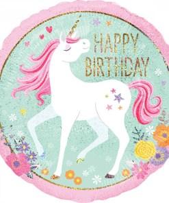 Happy Birthday, Einhorn holografisch, Folienballon, rund, 43cm_30