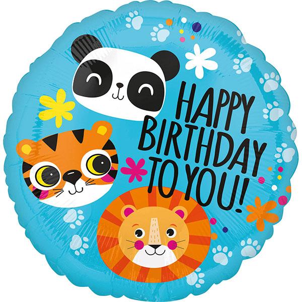 Happy Birthday, Wilde Tiere, Folienballon, rund, 43cm