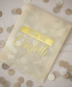 Konfetti , Vintage Affair, weißgold, 7g Tüte transp.Golddruck ,Throw some Confetti, 9 x 11,5 cm