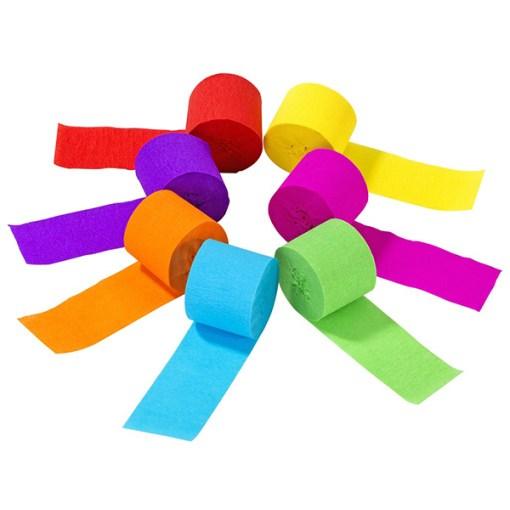 Kreppbaender 'Rain Streamers', 7 Rollen a 10 m, Regenbogenfarben sort, Baender