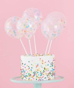 Kuchentopper, Mini-Ballons transp. mit Konfetti pastell-bunt + Ballonstäbe, 5er Pack (1)