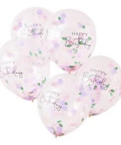 Latexballon ''HAPPY Birthday'', transparent, Blueten-Konfetti pastell-gruen, D 30 cm