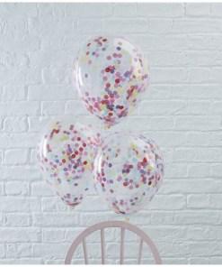 Latexballons, transparent m. Konfetti gefuellt, orange, weiß, lila, blau 5er Pack, D 30 cm