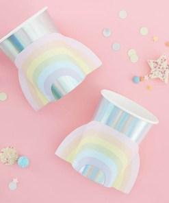Pappbecher Pastel Rainbow, iris-silber Pastellregebogen Pappe, 8er Pack, 260 ml 7,5 x 9,5 cm, Beispielbild