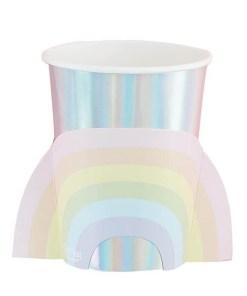 Pappbecher Pastel Rainbow, iris-silber Pastellregebogen Pappe, 8er Pack, 260 ml 7,5 x 9,5 cm