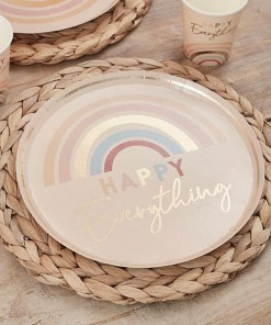 Pappteller ''HAPPY Everything'', puderrosa-Regenbogen pastell-met.gold, D 24 cm, Dekobeispiel