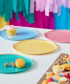 Pappteller, Sprenkel gold foliert, je 2 St. pink, hellblau, gelb, tuerkis, 8er Pack, D 24 cm, Dekobeispiel
