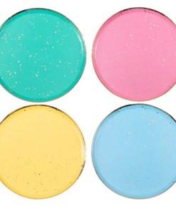 Pappteller, Sprenkel gold foliert, je 2 St. pink, hellblau, gelb, tuerkis, 8er Pack, D 24 cm