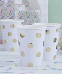 Partybecher, weiß, Golddruck Punkte, 8er Pack, 260 ml, 7,5 x 9,5 cm