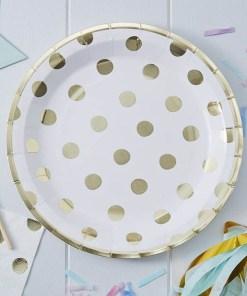 Partyteller, weiß, Punkte und Rand met.gold, 8er Pack, D 23 cm