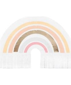 Serviette, Regenbogenform mit Fransen, weiss-gold foliert-Pudertoene, 16er Pack, ca. 32 cm