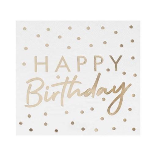 Servietten HAPPY Birthday + Punkte, weiß Foliendruck gold, 16er Pack, 33 x 33 cm