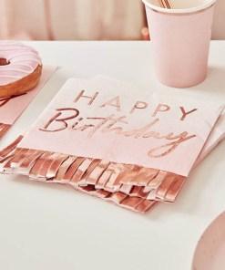 Servietten HAPPY Birthday, mit Fransen, rosa, Foliendruck roségold, 16er Pack, 33 x 33 cm Dekobeispiel