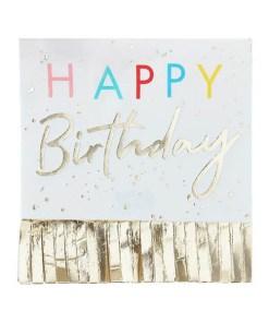 Servietten ''HAPPY Birthday'', weiß, Fransen gold, Schrift bunt und gold, 33 x 33 cm