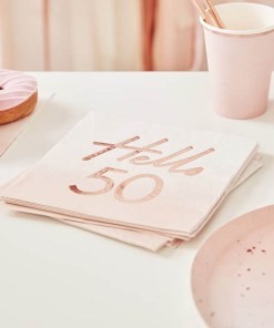 Servietten Hello 50, rosa Foliendruck roségold, 16er Pack, 33 x 33 cm (1)