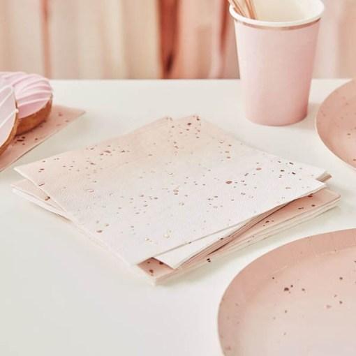 Servietten Ombre Rose, rosaSprenkel Foliendruck roségold, 16er Pack, 33 x 33 cm , Dekobeispiel