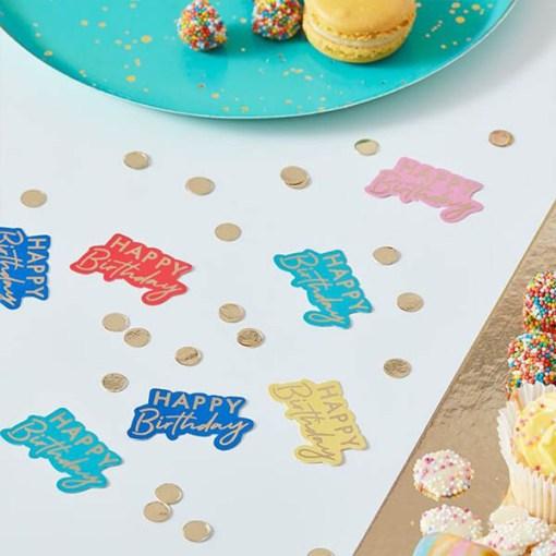 Tischkonfetti ''HAPPY BIRTHDAY'' plus Goldpunkte, Cutouts gold, 5 Farben sort., Dekobeispiel