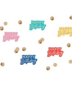 Tischkonfetti ''HAPPY BIRTHDAY'' plus Goldpunkte, Cutouts gold, 5 Farben sort.