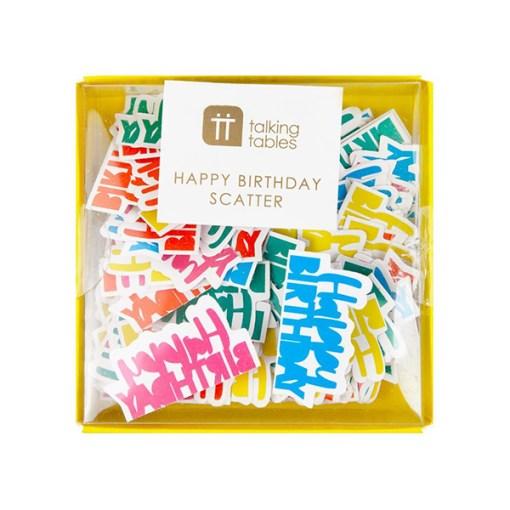 Tischkonfetti, Schriftzug-Cutout 'Happy Birthday', Papier gelb-orange-tuerkis-pink, Verp. 8,5x8,5cm