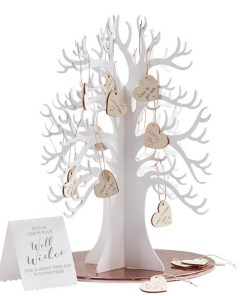 WunschbaumGästebuch Beautiful Botanics, Holz weiß, 70 Herzhänger zum Beschriften, Holz natur, D 29 H 35 cm