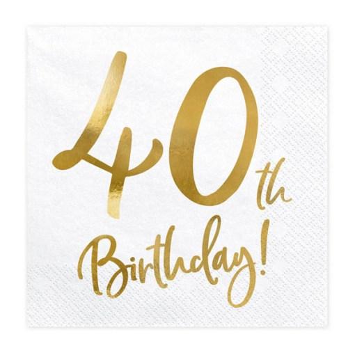 40th Birthday, Servietten, weiß mit goldenem Schriftzug, dreilagig, 20 Stk., 33 x 33 cm