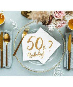 50th Birthday, Servietten, weiß mit goldenem Schriftzug, dreilagig, 20 Stk., 33 x 33 cm, Dekobeispiel
