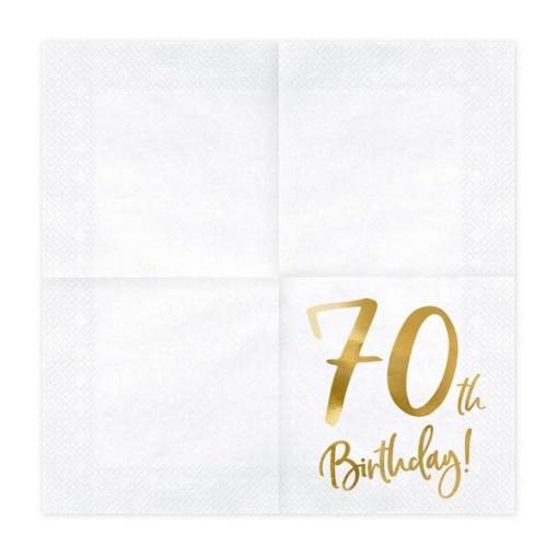 70th Birthday, Servietten, weiß mit goldenem Schriftzug, dreilagig, 20 Stk., 33 x 33 cm, aufgefaltet