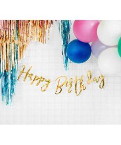Buchstaben-Girlande ''Happy Birthday'', met.gold, 16,5 x 62cm, Dekobeispiel