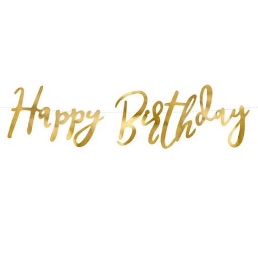 Buchstaben-Girlande ''Happy Birthday'', met.gold, 16,5 x 62cm