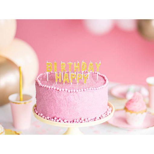 Buchstaben-Kerzen mit Stecker HAPPY BIRTHDAY, glittergold, weiß, H 2,5 cm, Dekobeispiel