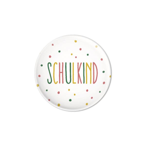 Button Schulkind, Konfetti rosa, D32mm